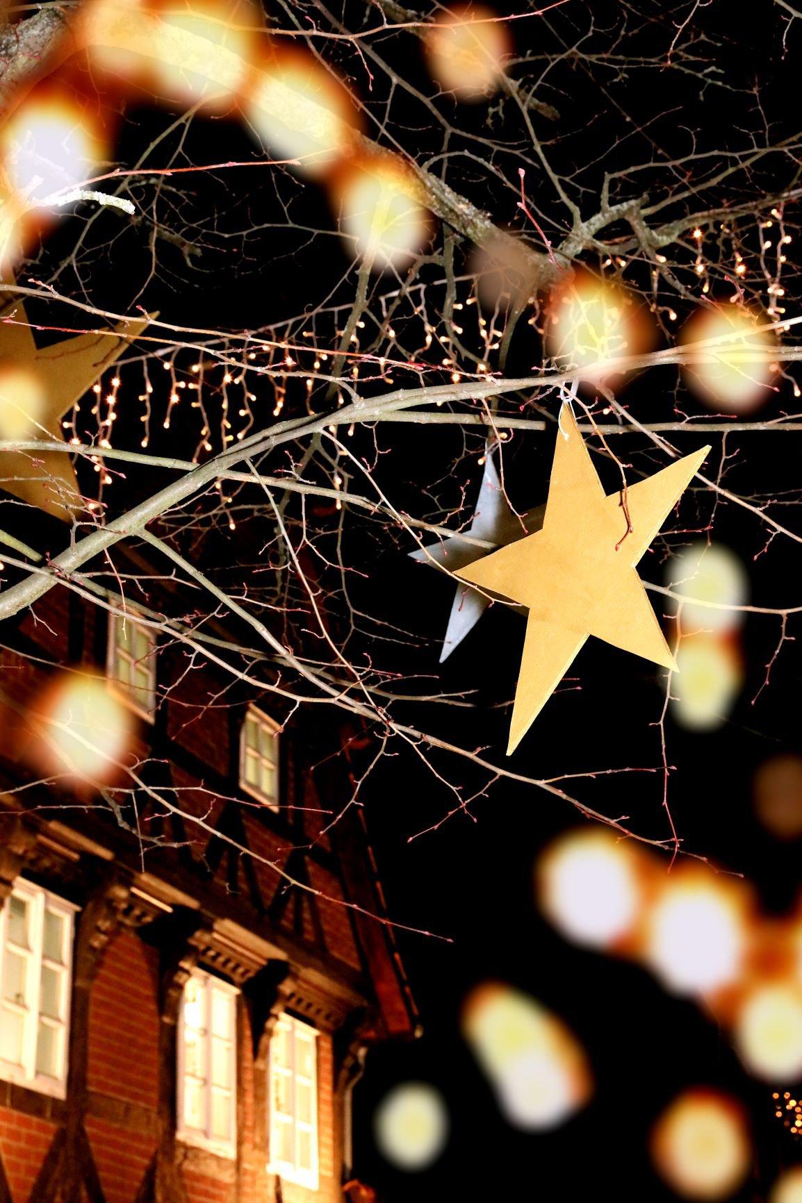 Stern im beleuchteten Baum